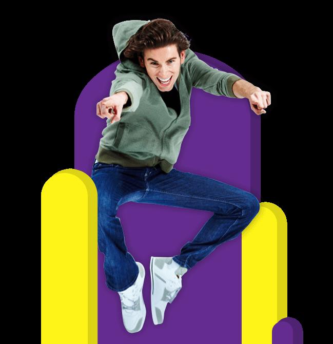 guy jumping with excitement Vertigo Trampoline Park